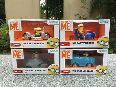 Brand New Despicable Me Minions Diecast Vehicles 7cm Toy Cars Set
