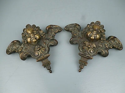 2 19th Century or Earlier Heavy Bronze Furniture Mounts Cherub Wings Angel BR • CAD $1,594.69