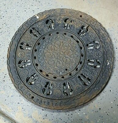 ANTIQUE VINTAGE ROUND ORNATE REGISTER FLOOR GRATE VENT 16 inches in diameter