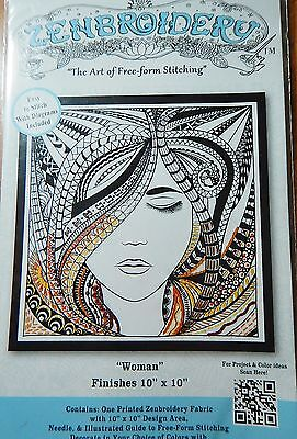 Zenbroidery Woman Embroidery Zentangle Adult Coloring Painting Printed Fabric