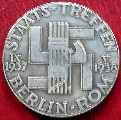 A.hitler And Mussolini Exonumia Commemorative Third Reich Coin 1938