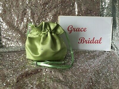 SAGE GREEN SATIN DOLLY BAG  BRIDESMAID PROM FLOWER GIRL **free samples ** BNIP