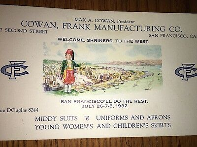 Shriners To The West Advertising Blotter 1932 San Francisco Cowan Frank Mfg
