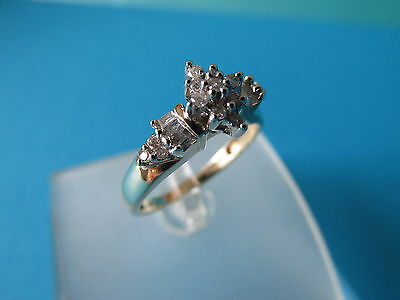 9ct Gold Diamond 0.25ct Cluster Ring - Size N - Hallmarked - Boxed