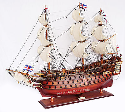 """HMS Victory Admiral Nelson's Tall Ship 27"""" Handmade Built Wooden Model Boat"""
