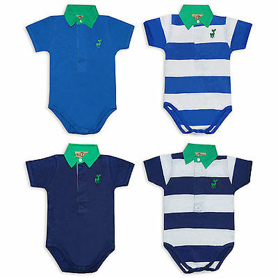 Baby Boys 2 Pack Striped Polo Shirt Short Sleeve Bodysuits by Honour & Pride