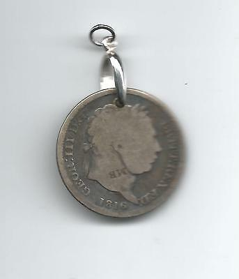 Lot 70: BRITAIN GEORGE III 1816 SILVER SHILLING w/ 925 Sterling Pendant Bail