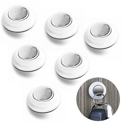 Creative 6Pcs Magnetic Key Holder Strong Magnet Hook Rack W/ 3M Adhesive Tapes