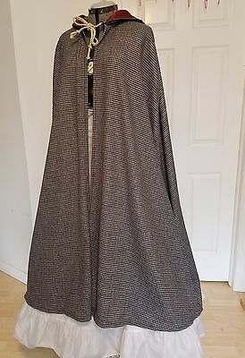 Renaissance Lady's Travel Cloak - Blue Checkered Wool