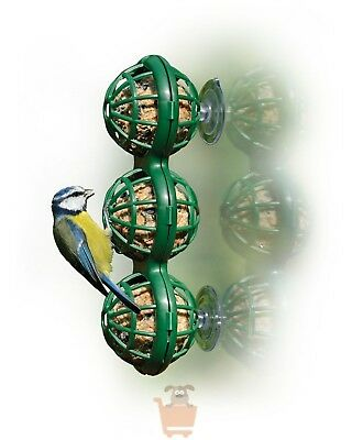 Wild Bird Window Suction Mounted Basket Fat Ball Suet Safe Basketball Feeder