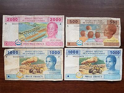 Central African States 4500 francs 2002 lot banknote