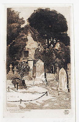 Antique Etching Old Church Newlands Peebleshire Signed Walter Scott 1912 Grave