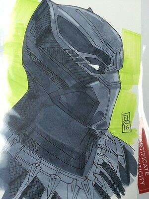 Black Panther 1/1 Original Color Drawing By Tom Hodges