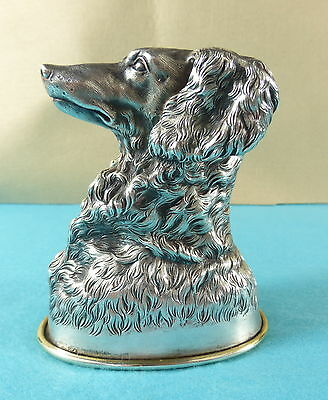 Very Rare Russian Sterling Silver Novelty Stirrup Cup Dog Head Samuel Arndt 1857
