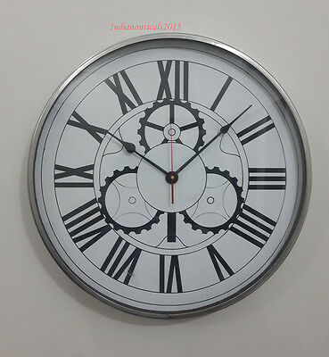 Retro Vintage Chrome Clock Wall Clock Home Decoration Table Clock Ornament