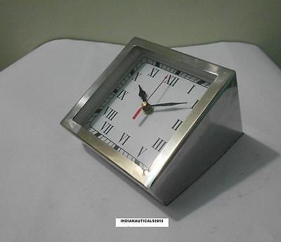 Collectible Decorate Old Handwork Fully Chrome Mechanical Table  / Desk Clock