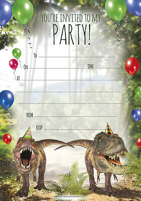 Dinosaur Birthday Party Invitations Large A5 Size Prehistoric Theme - Pack 20