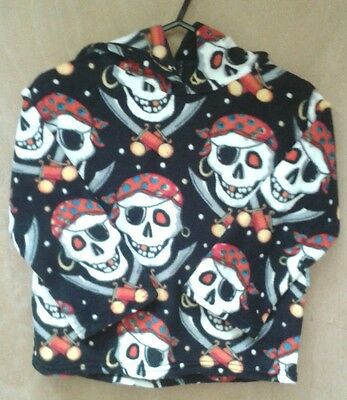Childrens Fleece Hoodie Tops  Black Pirate Skulls