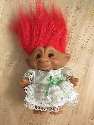 Lovely 5 Inch Troll With Red Hair And Lovely Dress