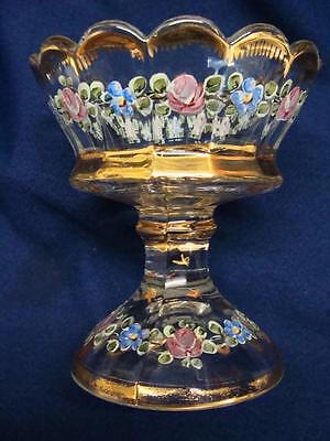 Victorian Hand Painted Enameled Compote With Gold Gilt Trim