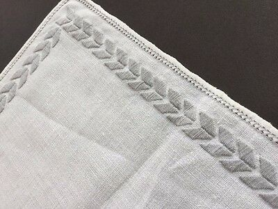 Vtg 12 Pc White Linen Hand Embroidered Placemats w/Grey Trim + BONUS PN61