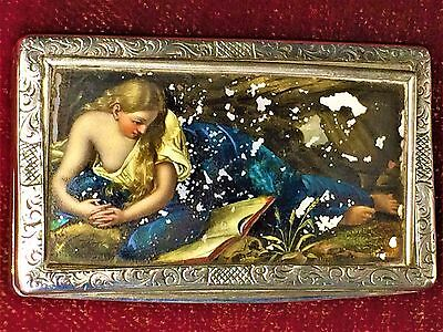 Silver Box With Decoration In Pearl  Polychromed. France(?). Circa 1800