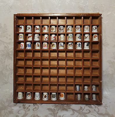 Vintage Thimble Collection - 41 Ceramic Silver Advertising Wood Display Case