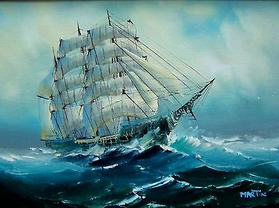 Original MARTIN Signed Painting Ship Nautical Oil Canvas Framed Certified