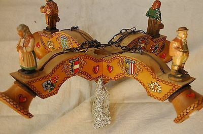 Hand Made Pine Chandelier from Austria.    1955  vintage.   Wood with figurines.
