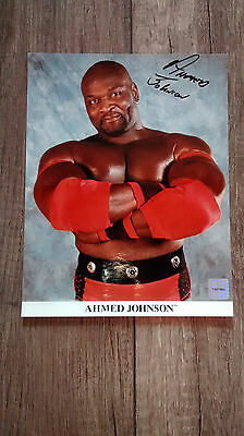 Ahmed Johnson autographed 8 x 10 photo WWF WCW WWE Sharpshooter w/ COA