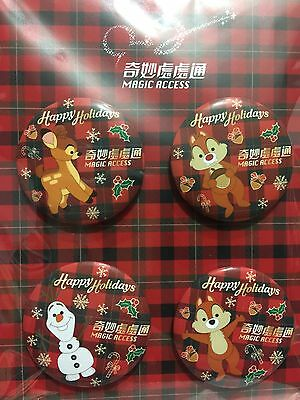 HKDL 2016 Magic Access Exclusive Christmas Badges Set - Olaf Chip Dale Bambi