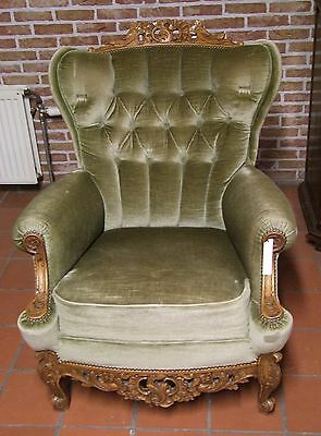 Louis Xv Style Vintage French Carved Oak Green Armchair - (030040)
