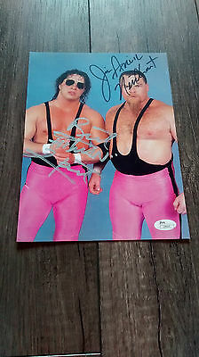 Bret Hart Jim Neidhart Hart Foundation autographed 8x10 photo WWF WWE w/COA JSA