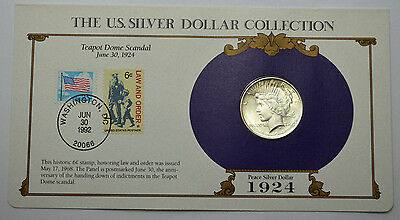 1924-P UNC Peace Dollar & STAMPS ,THE US SILVER DOLLAR COLLECTION!