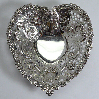 Vintage Gorham Sterling Silver Heart Shape Reticulated Openwork Dish, 73.7 g