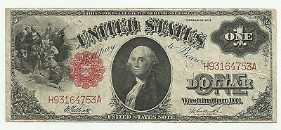 Series of 1917 Large $1 Dollar Red Seal United States Note Sawbuck (#1371)