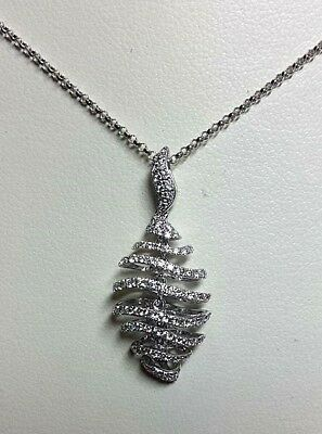 Fully Hallmarked 18ct White Gold & Diamond Fancy Drop Pendant & Chain (WAS £770)