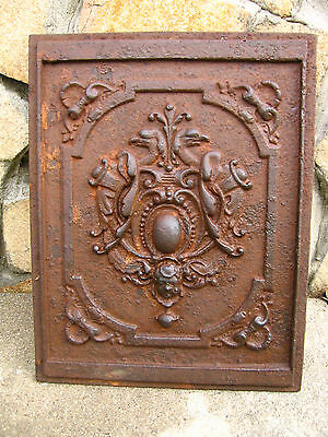 Cast Iron Decorative Firebacks panel Plaque Antique Old Plaque 19 century /113k
