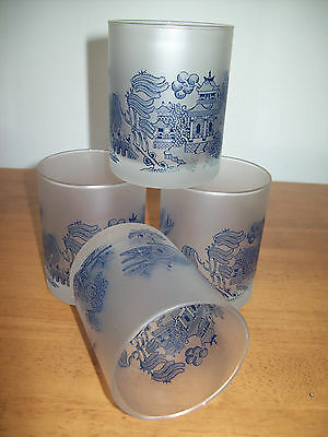 4  X Frosted Glass ' Blue Willow '  Tumblers / Glasses  Set