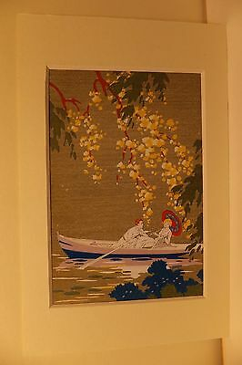 Reprint Art Deco Fashion Girl Couple In A Rowboat