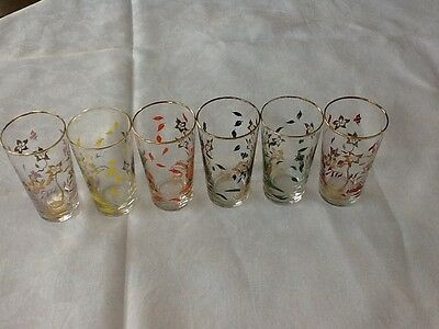 SET OF SIX VINTAGE/RETRO DRINKING GLASSES. Floral pattern. Different colours.