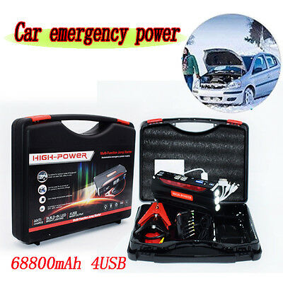 Safe 68800mAh Portable Car Jump Starter Pack Booster Battery Charger 4 USB Power
