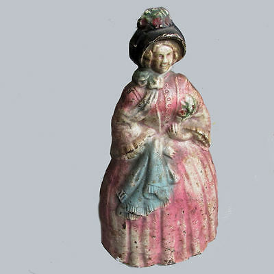 Antique Cast Iron Doorstop, Lady in Pink Gown