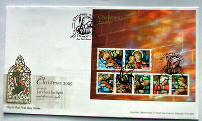 British Christmas Let There Be Light Minature Sheet  First Day Cover 2009