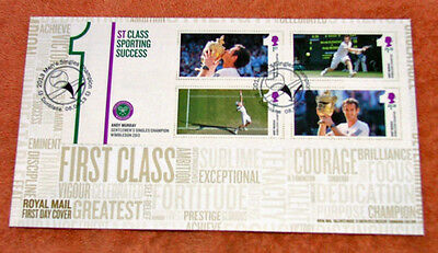 British Andy Murray Minature Sheet First Day  Cover 2013