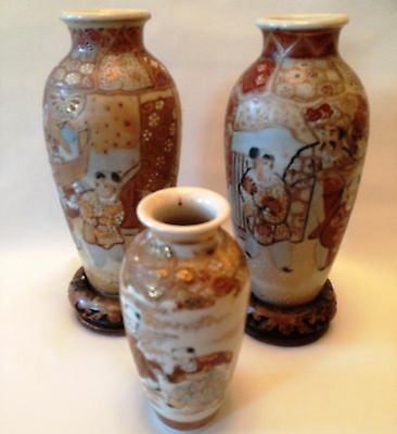Vintage Pair 18cm + a 11cm Japanese Oriental Chinese Satsuma Handpainted Vases