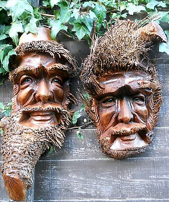 GREAT Wooden Bamboo Root Old Man Face Mask NEW STYLE 50-55 cm Indoor / Outdoor