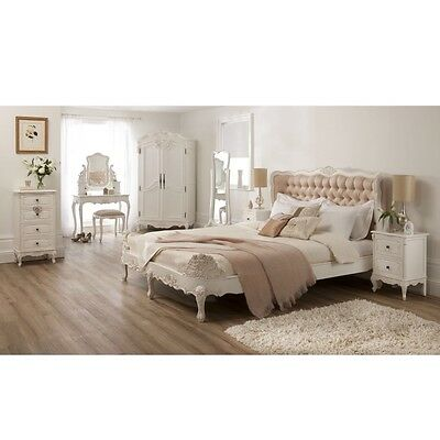 Baroque Upholstered Antique French Style Bed With Mattress And Two Bedsides
