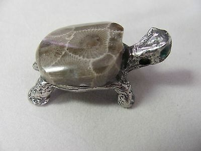 "Pewter Turtle w/ Petoskey Stone ""Shell"" & Green Eyes, Decoration or Pendant #22"