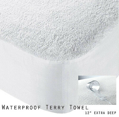 Luxury Waterproof Terry Towel Extra Deep Fitted Bed Cover All Sizes